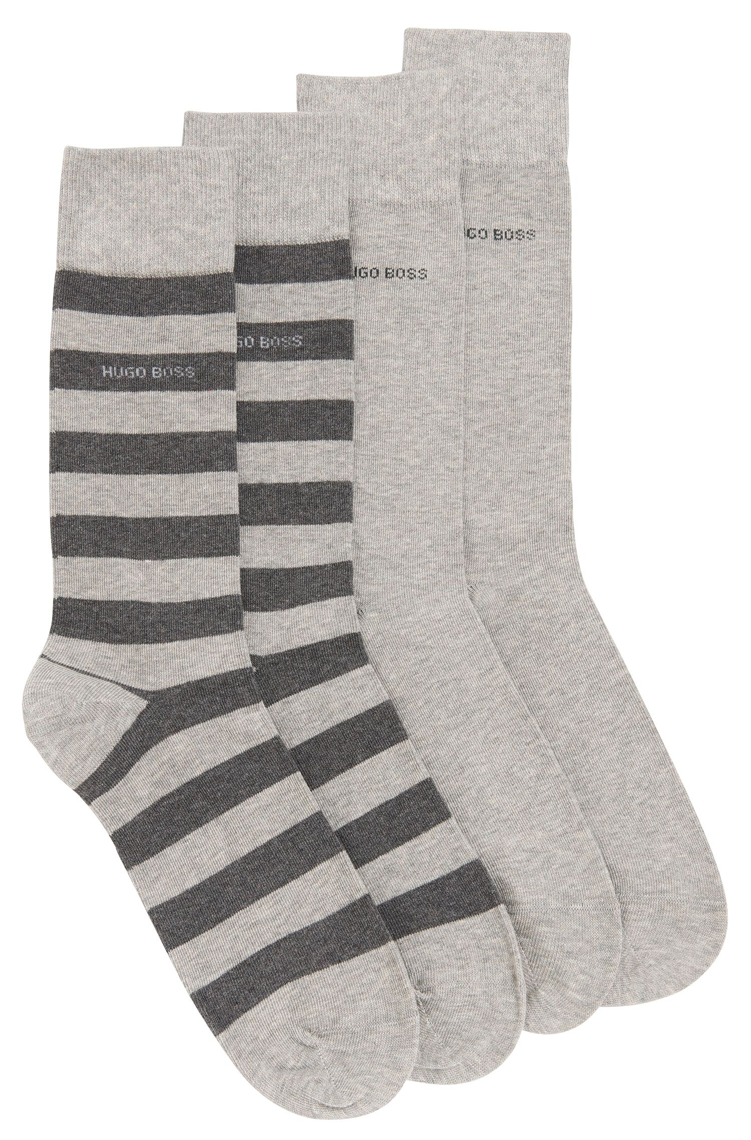 Two-pack of regular-length socks in combed cotton-blend , Silver