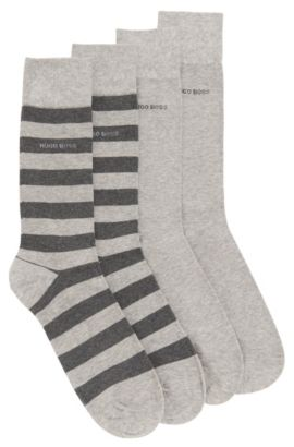 Socken aus elastischem Baumwoll-Mix im Zweier-Pack , Silber