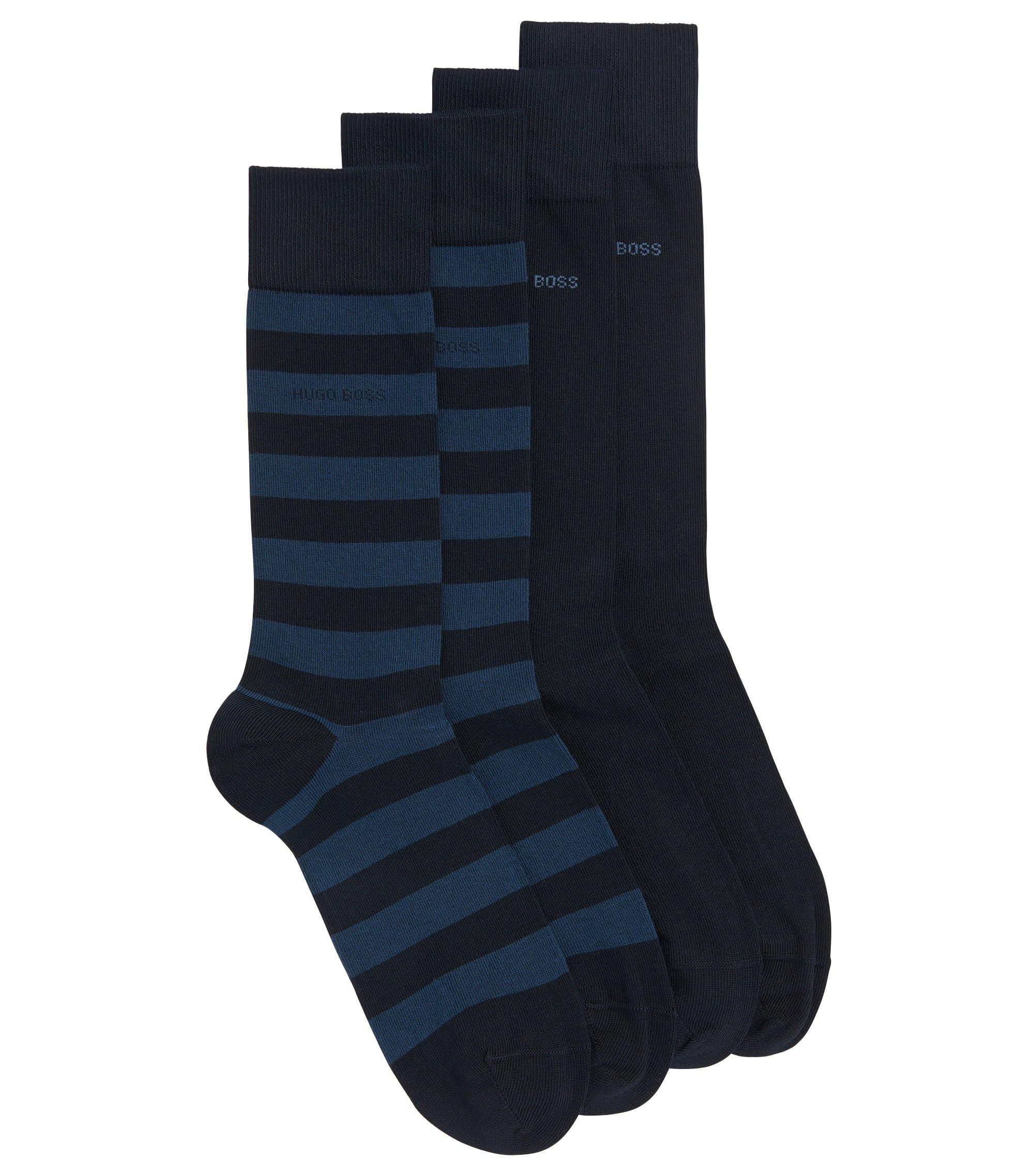 Set van twee paar sokken, van een gekamde katoenmix met een normale lengte, Donkerblauw