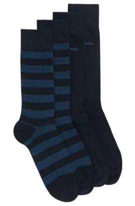 Paquete de dos pares de calcetines de largo normal en mezcla de algodón peinado , Azul oscuro