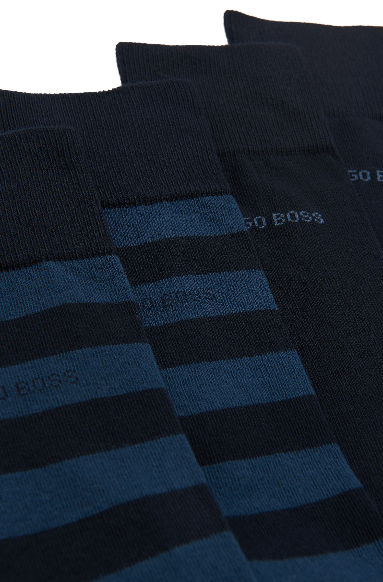 Two-pack of regular-length socks in combed cotton-blend , Dark Blue