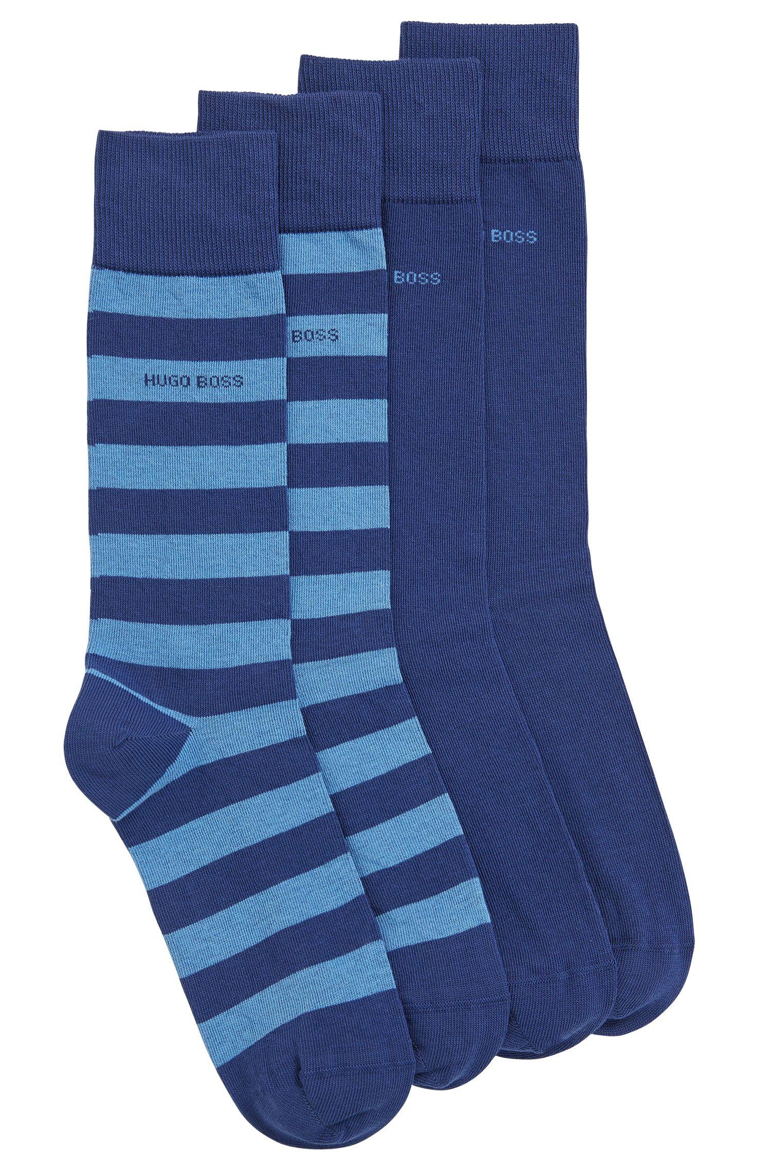 Confezione da due paia di calze di lunghezza media in misto cotone pettinato
