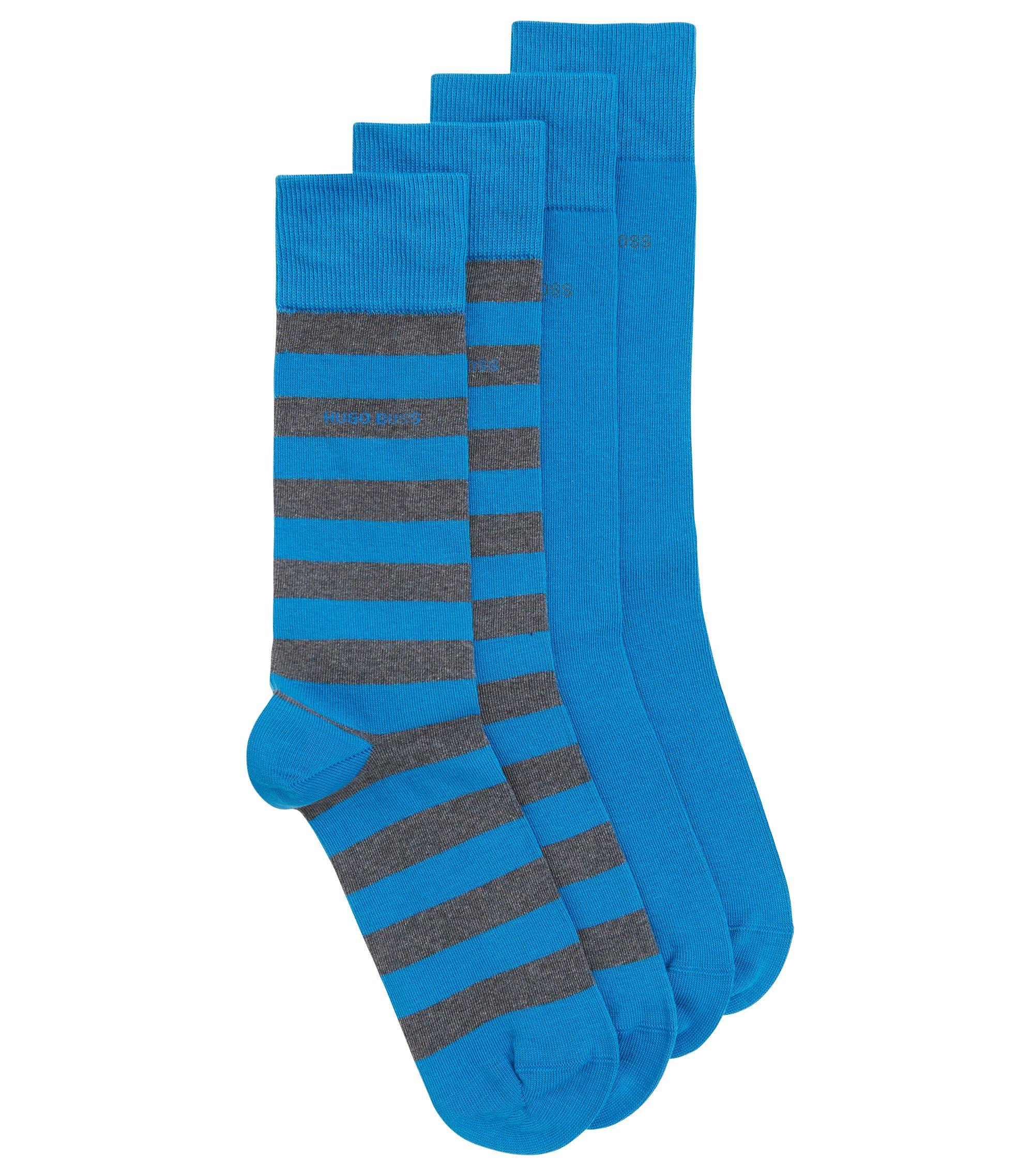 Confezione da due paia di calze di lunghezza media in misto cotone pettinato, Blu