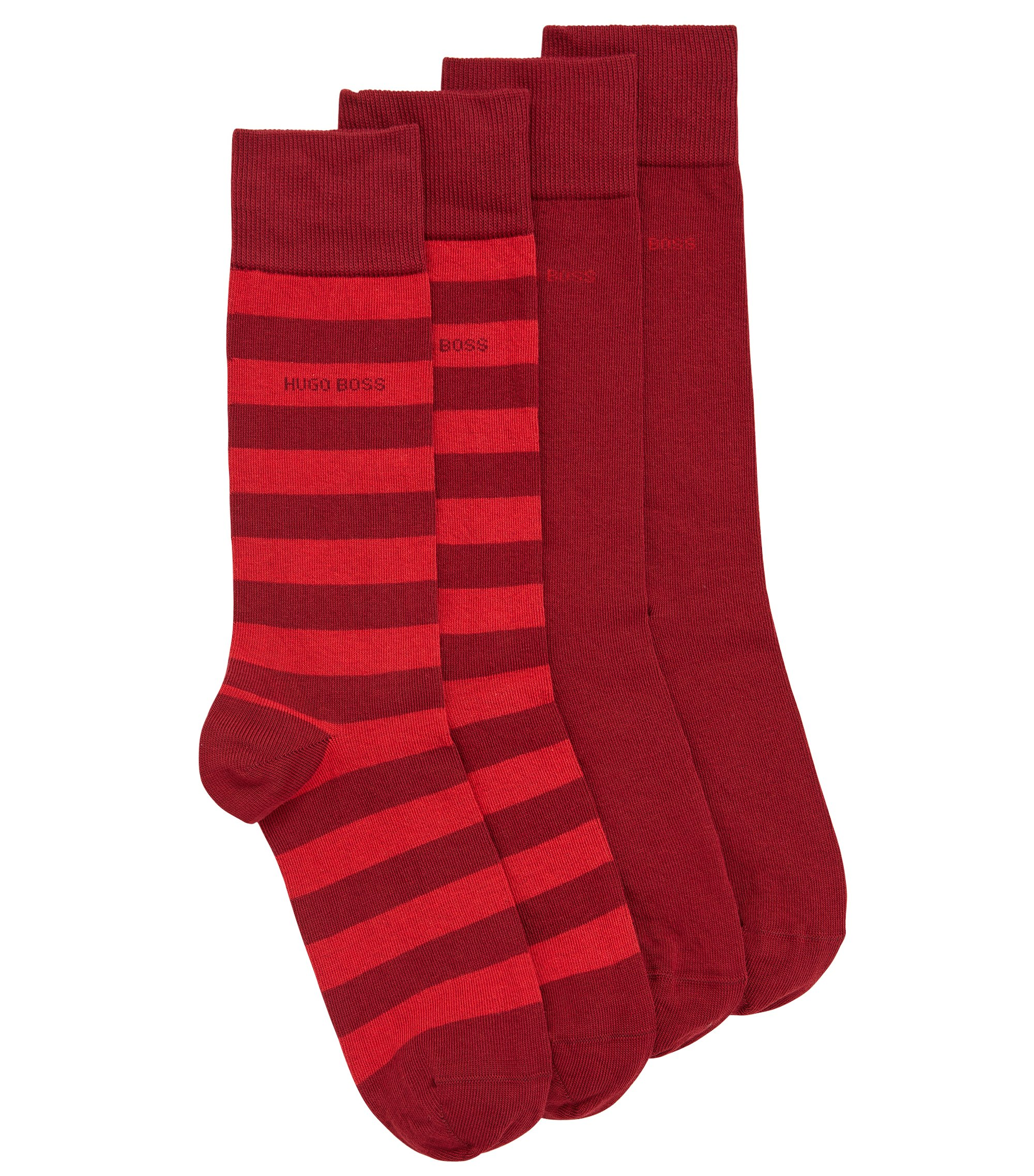 Two-pack of regular-length socks in combed cotton-blend , Dark Red