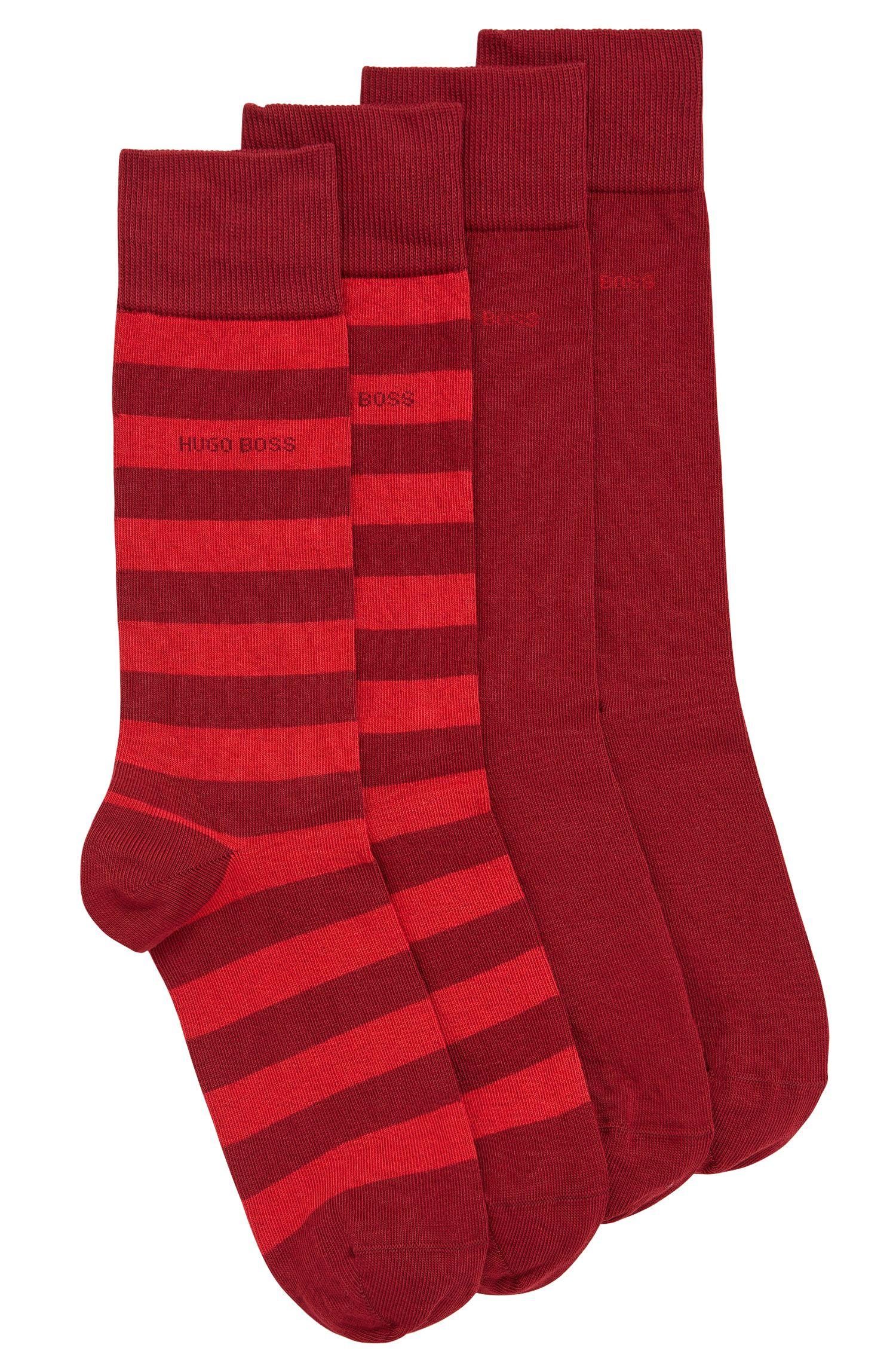Chaussettes mi-hautes en coton mélangé peigné, en lot de deux