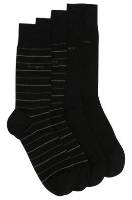 Set van twee paar sokken met normale lengte, Zwart