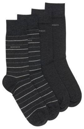 Paquete de dos pares de calcetines de largo normal, Gris marengo