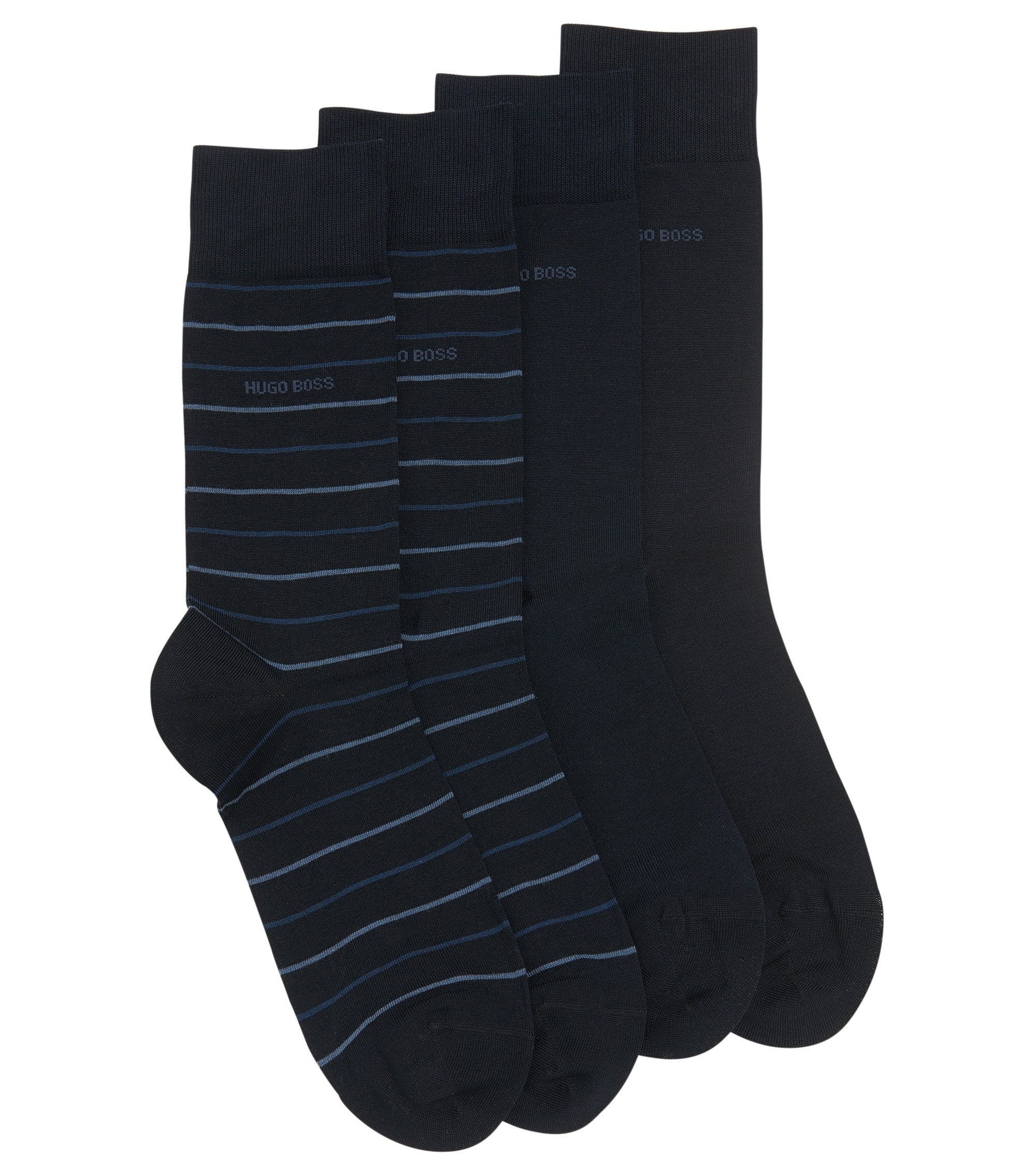 Zweier-Pack Socken aus elastischem Baumwoll-Mix mit normaler Länge, Dunkelblau