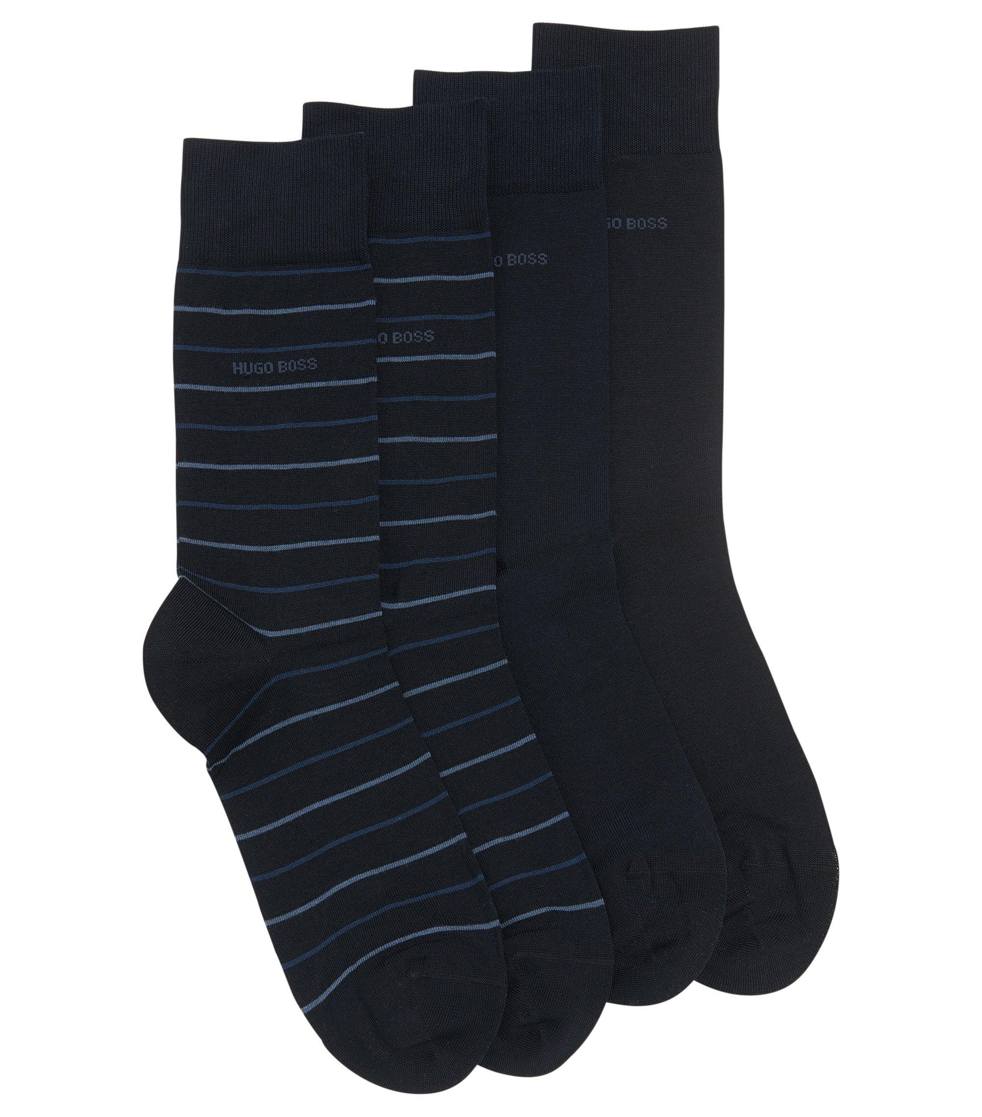 Paquete de dos pares de calcetines de largo normal, Azul oscuro