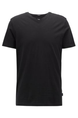 T-shirt Regular Fit en coton mercerisé, Noir