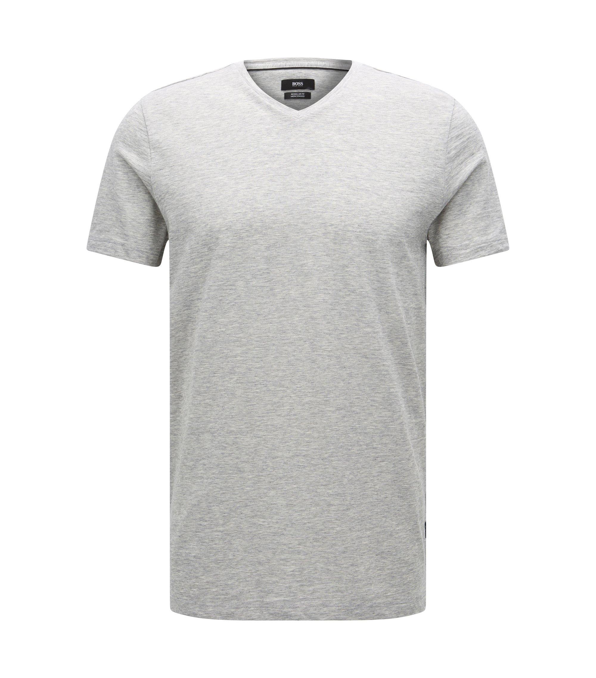 Regular-fit T-shirt van gemerceriseerde katoen, Lichtgrijs