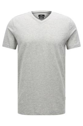 T-shirt Regular Fit en coton mercerisé, Gris chiné