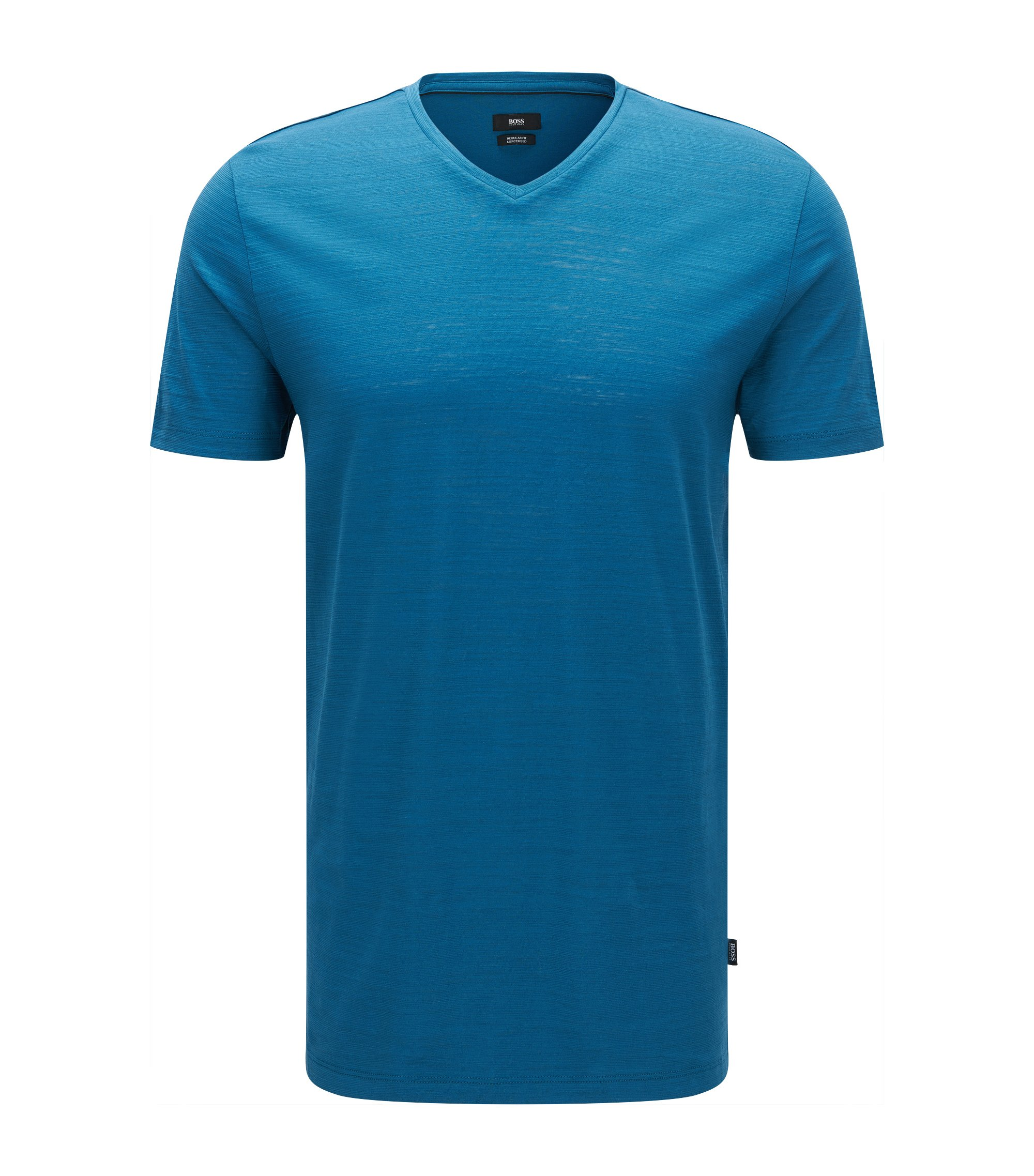 Regular-fit T-shirt in mercerised cotton, Turquoise