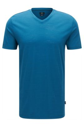 Camiseta regular fit en algodón mercerizado, Turquesa