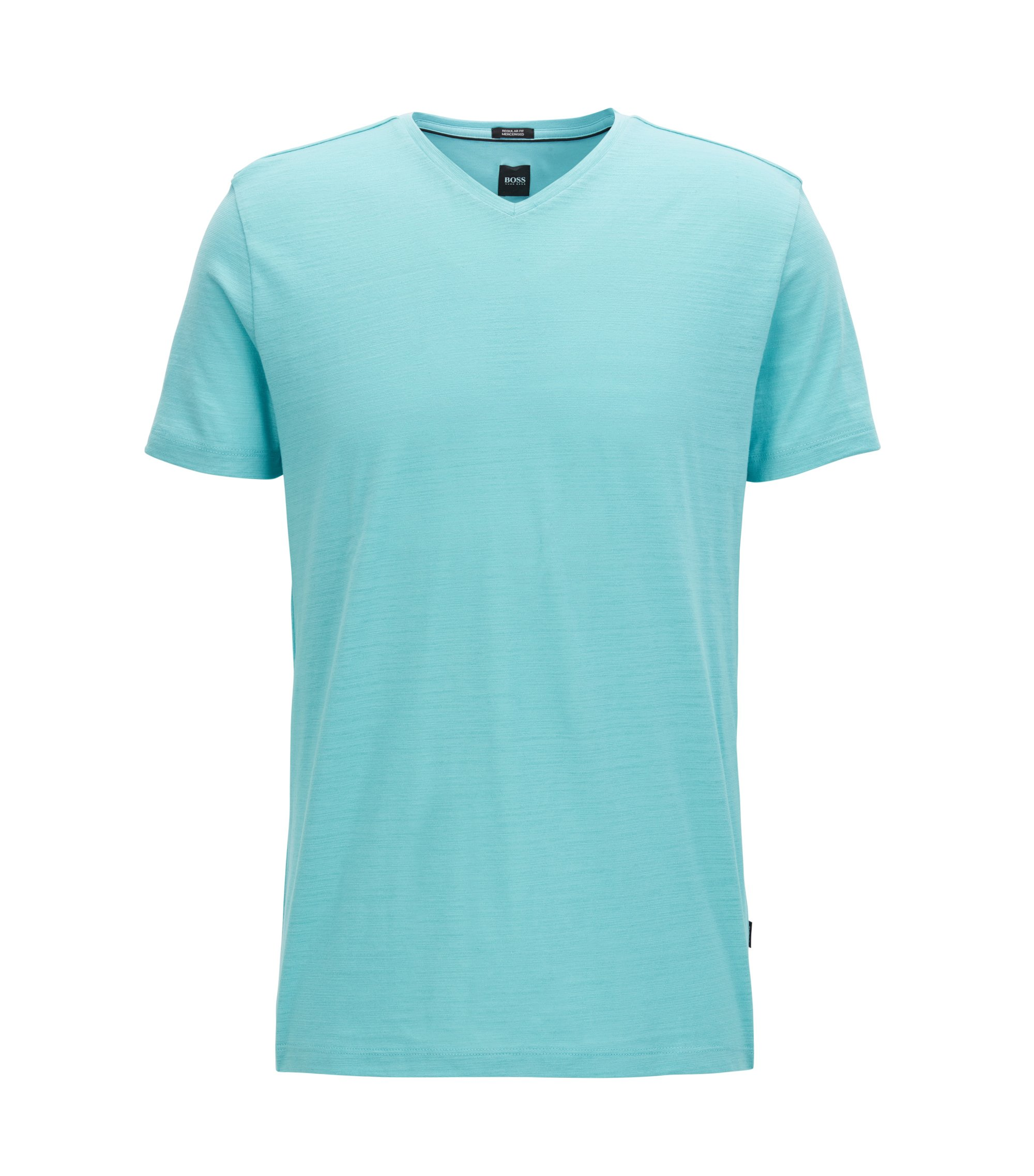 T-shirt regular fit in cotone mercerizzato, Celeste