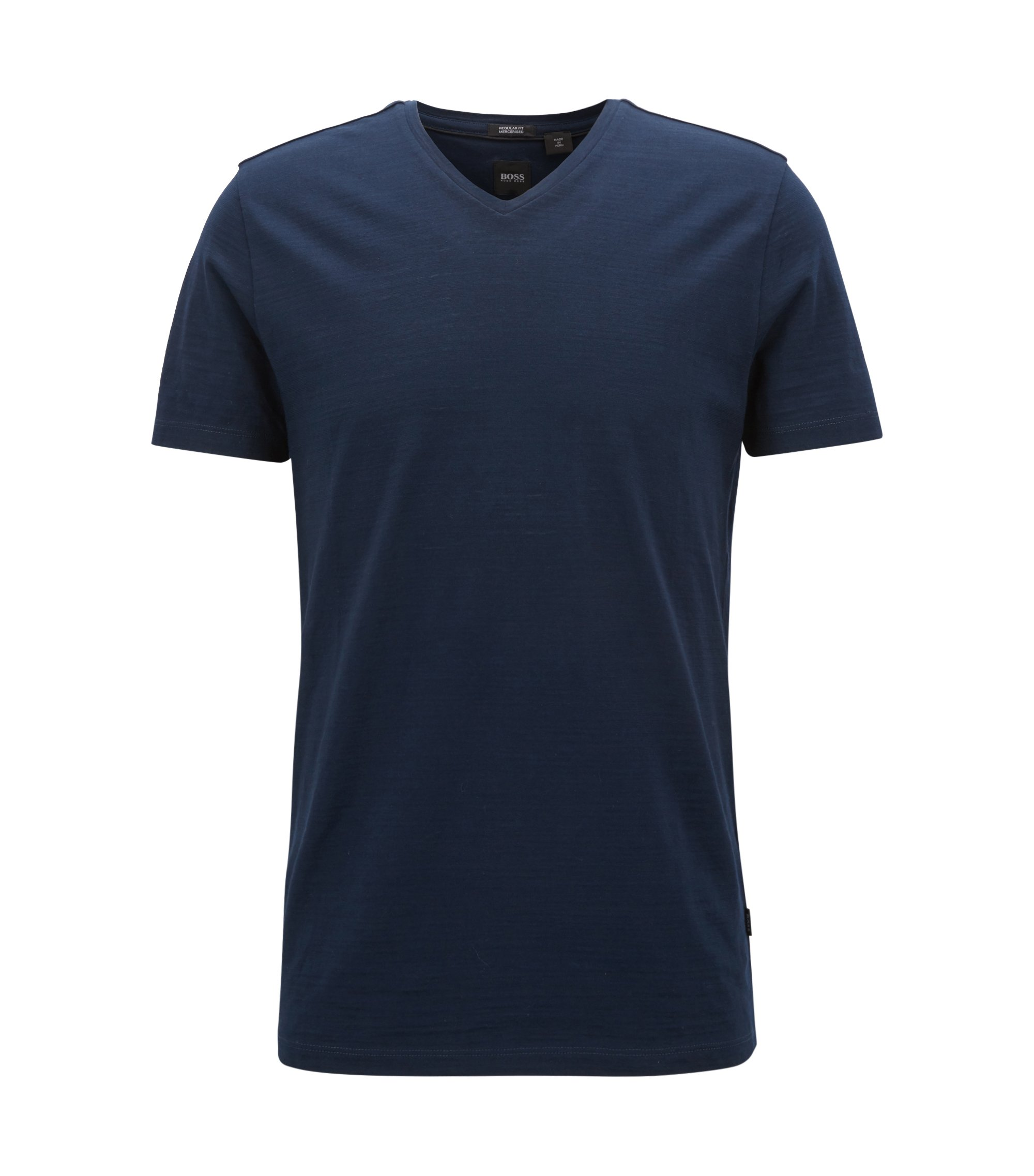 T-shirt regular fit in cotone mercerizzato, Blu scuro