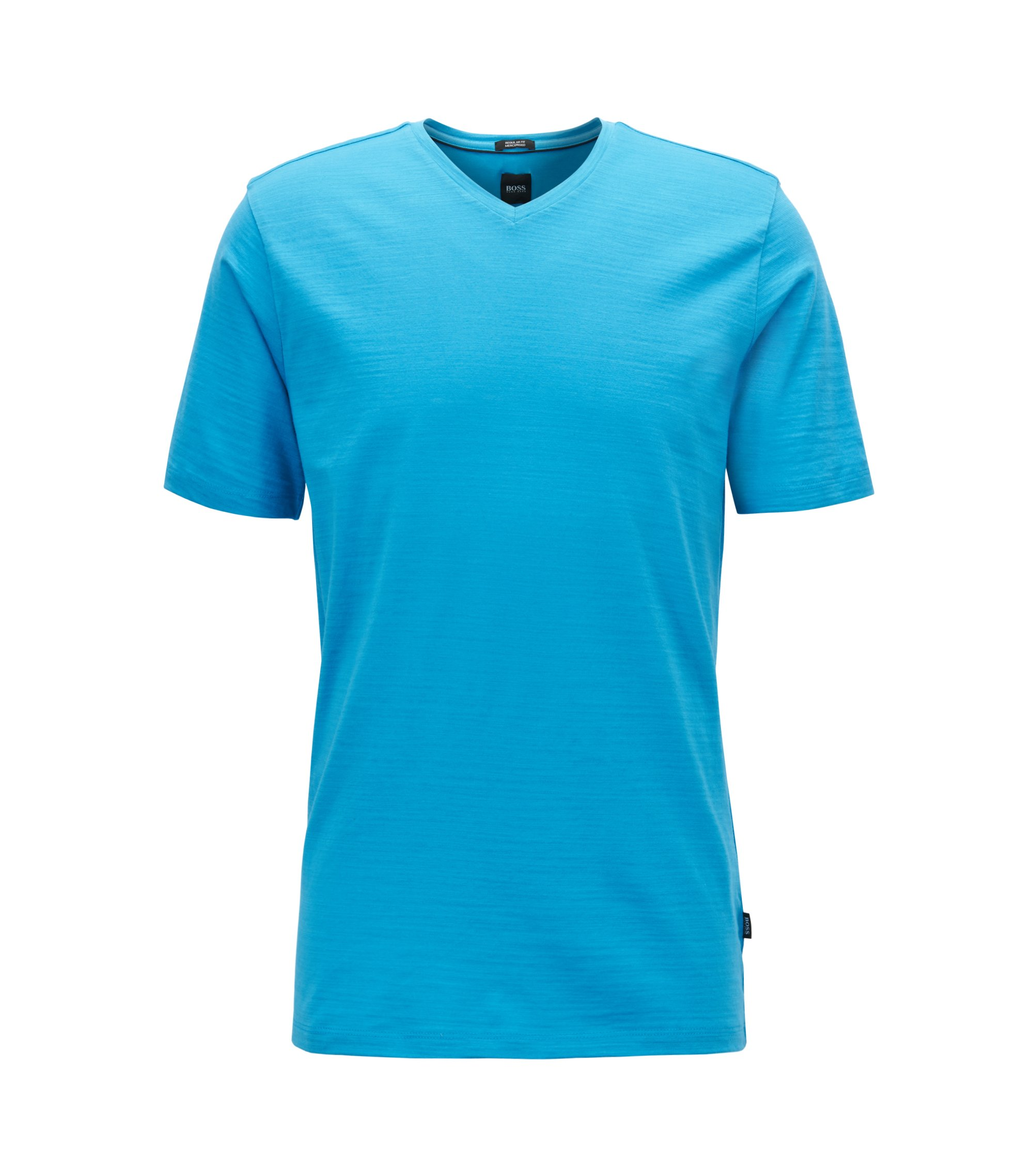 Regular-fit T-shirt in mercerised cotton, Open Blue