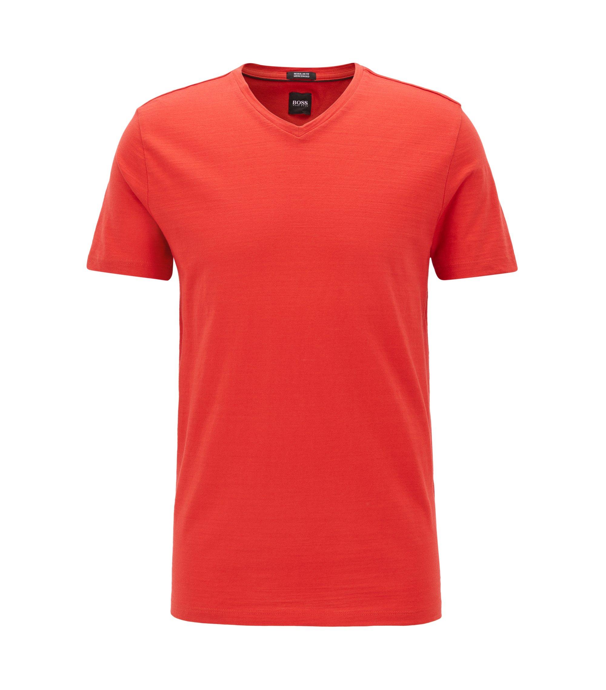Regular-Fit T-Shirt aus merzerisierter Baumwolle, Rot
