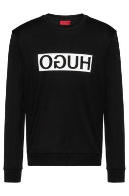 Regular-fit sweatshirt van interlocked katoen met gespiegeld logo, Zwart