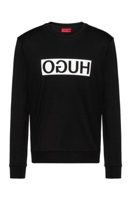 Regular-fit interlock cotton sweatshirt with reverse logo, Black