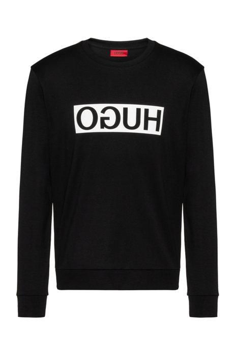 Reversed-logo sweatshirt in interlock cotton, Black