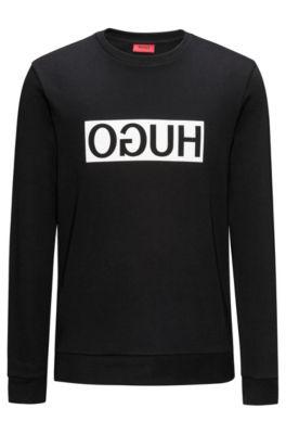 Regular-fit sweatshirt van interlock-katoen met gespiegeld logo, Zwart
