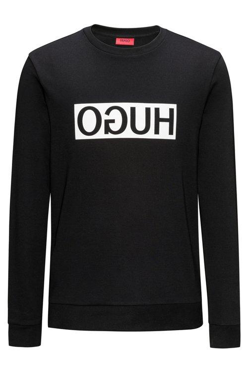 Hugo Boss - Regular-Fit Sweatshirt aus Baumwolle mit spiegelverkehrtem Logo-Print - 1