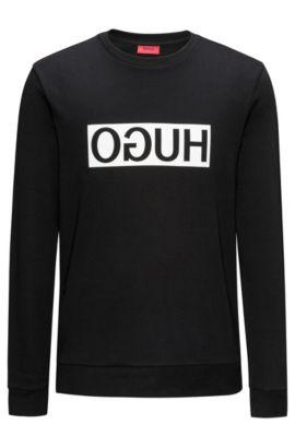 Sudadera regular fit en algodón interlock con logo invertido, Negro