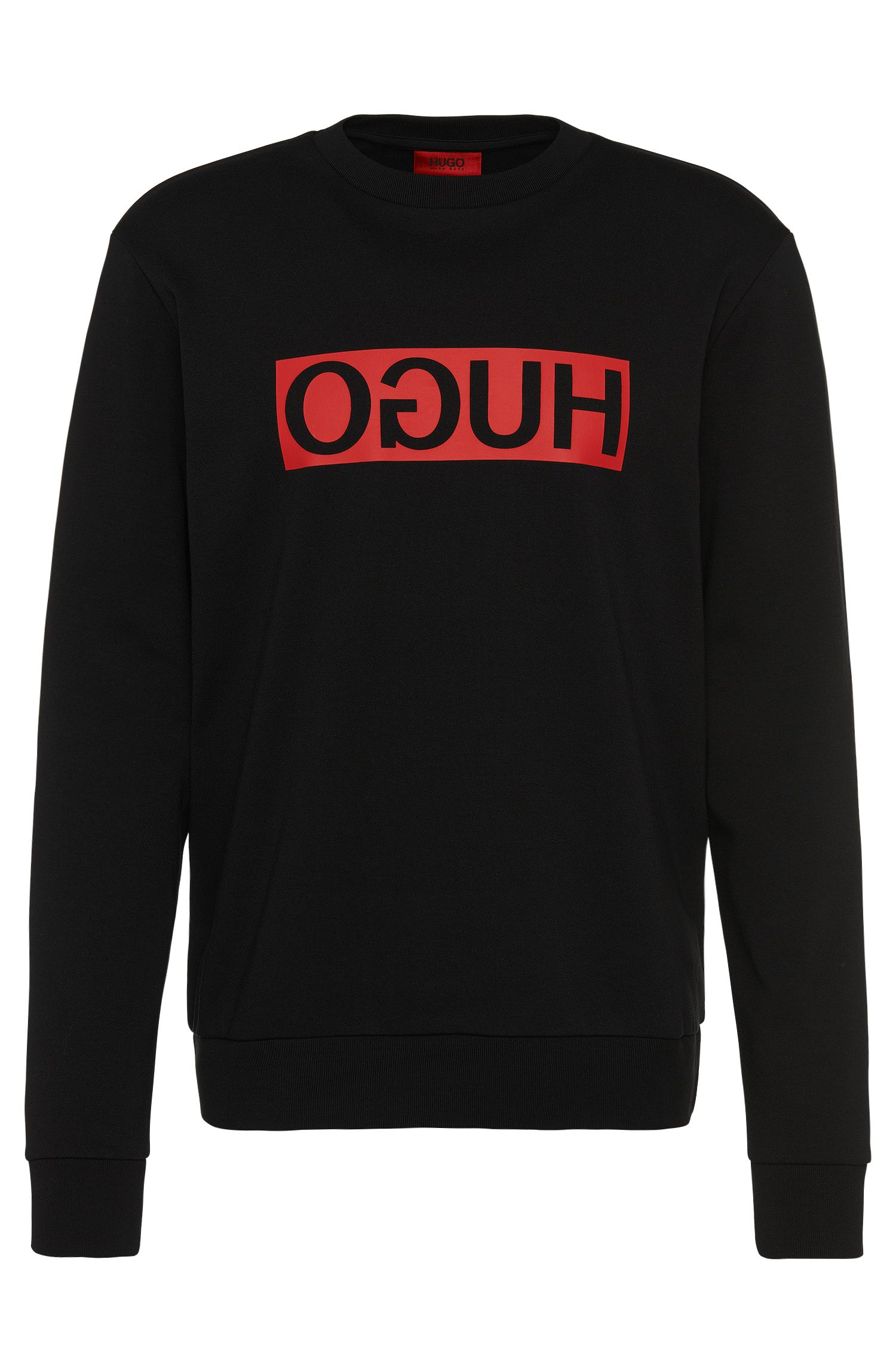 Relaxed-Fit Sweatshirt aus Baumwolle mit HUGO Reversed Logo: 'Dicago'