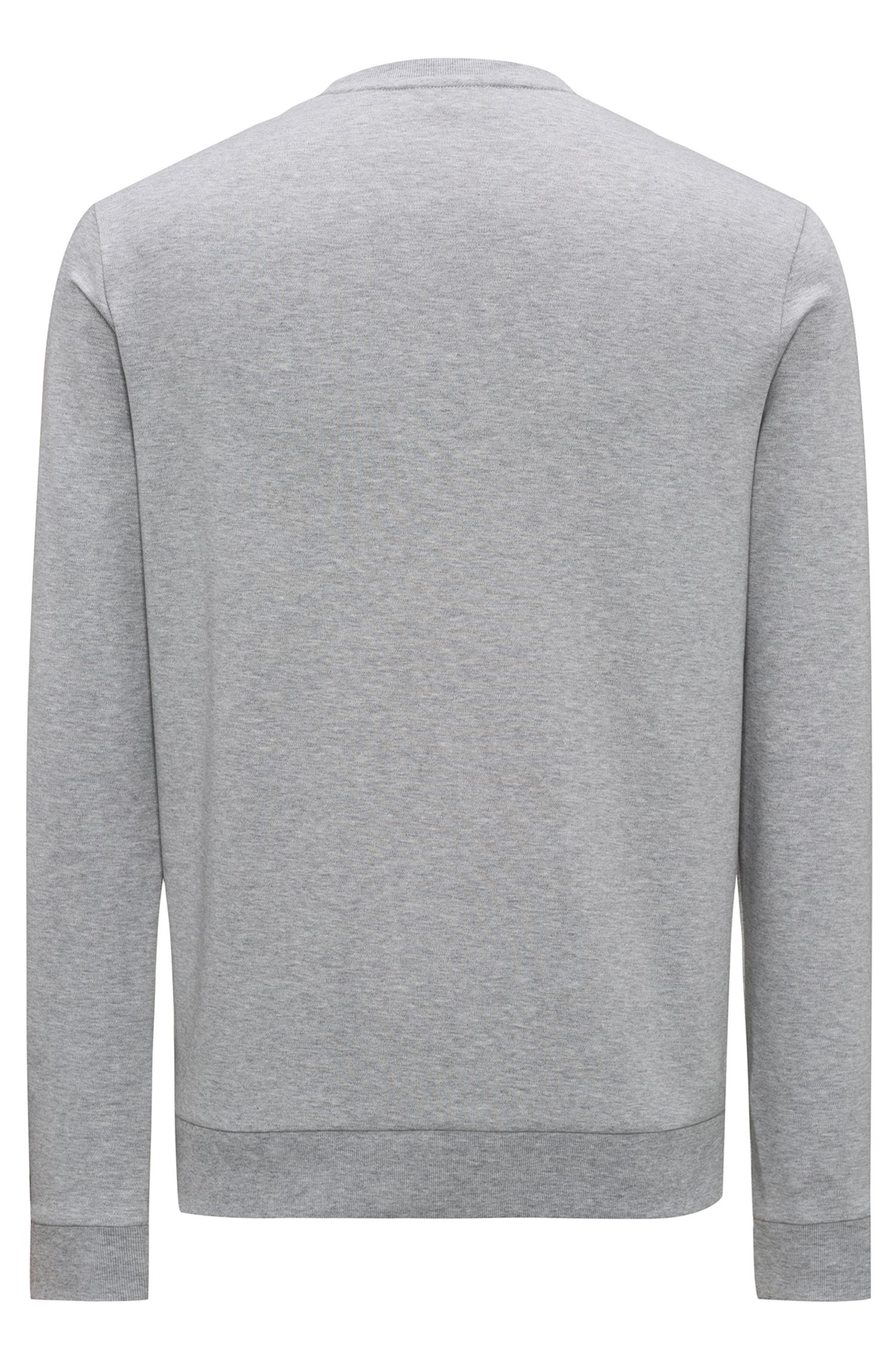 Sudadera regular fit en algodón interlock con logo invertido, Gris claro