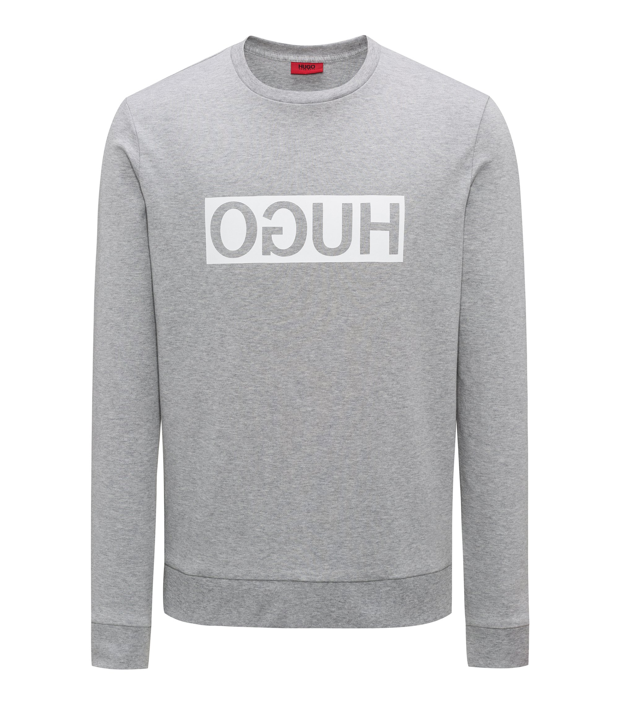 Regular-fit interlock cotton sweatshirt with reverse logo, Dark Grey