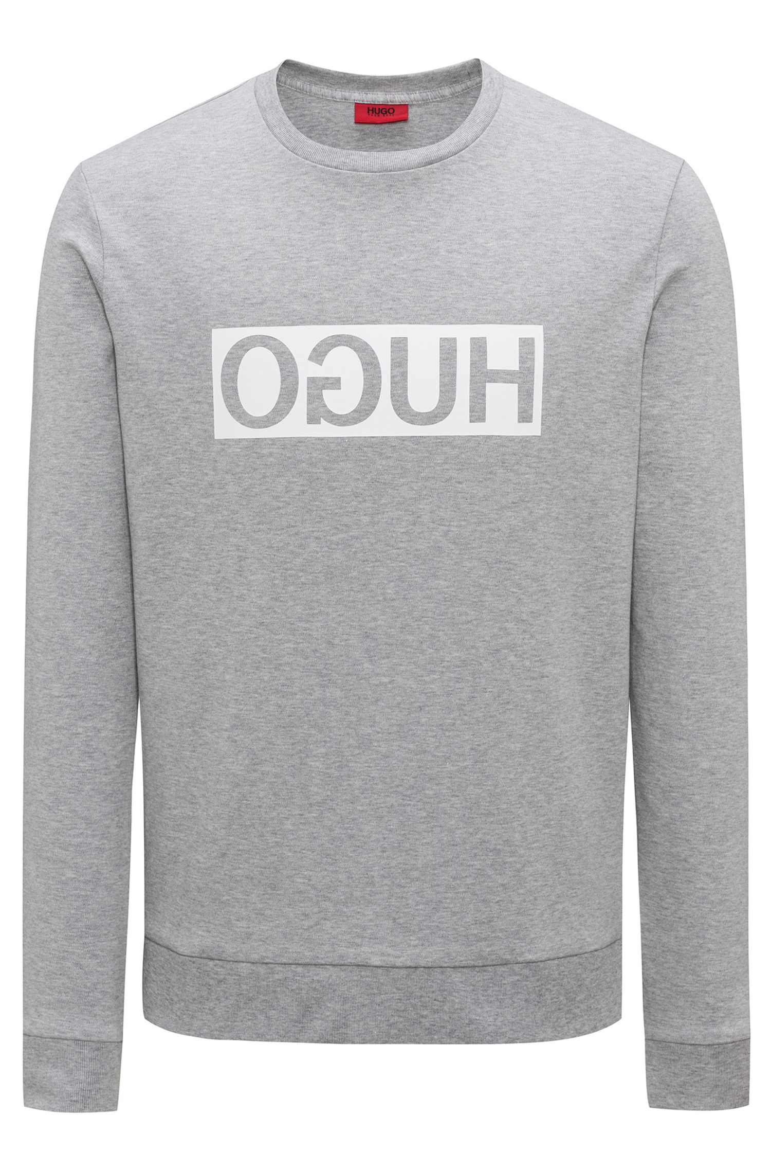 Sweat Regular Fit en coton interlock à logo inversé, Gris chiné