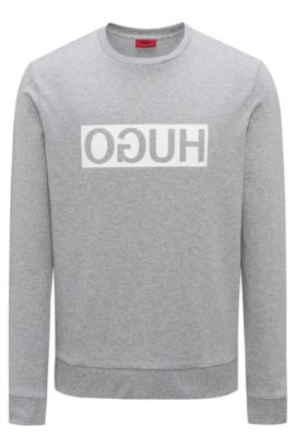 Sweat Regular Fit en coton interlock à logo inversé, Gris sombre