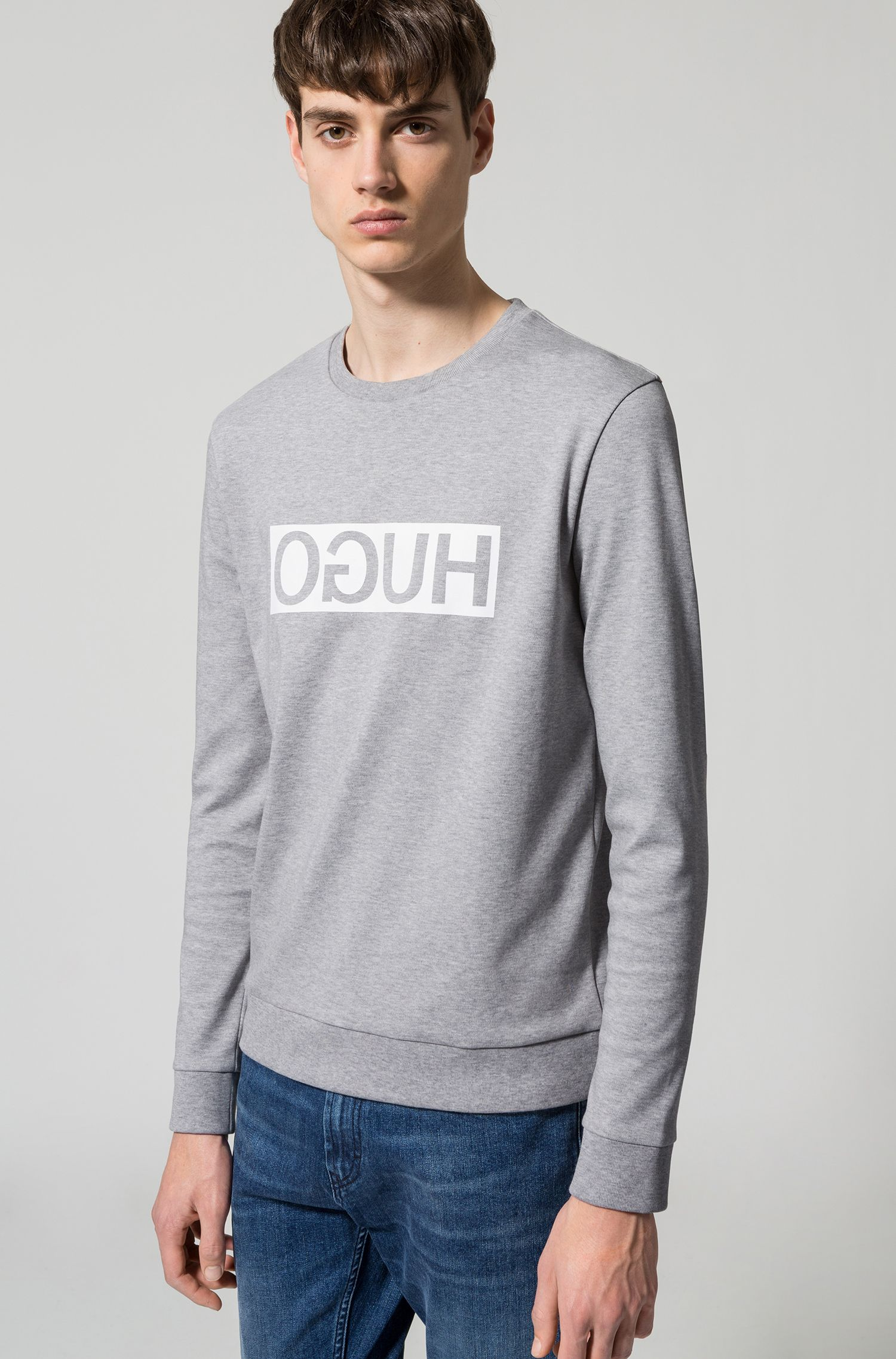 Regular-fit interlock cotton sweatshirt with reverse logo, Light Grey