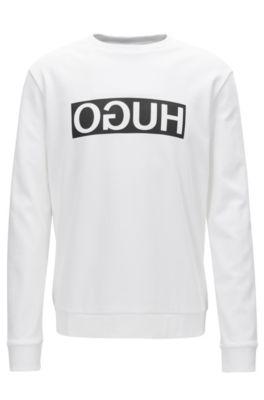 Regular-Fit Sweatshirt aus Baumwolle mit spiegelverkehrtem Logo-Print, Weiß