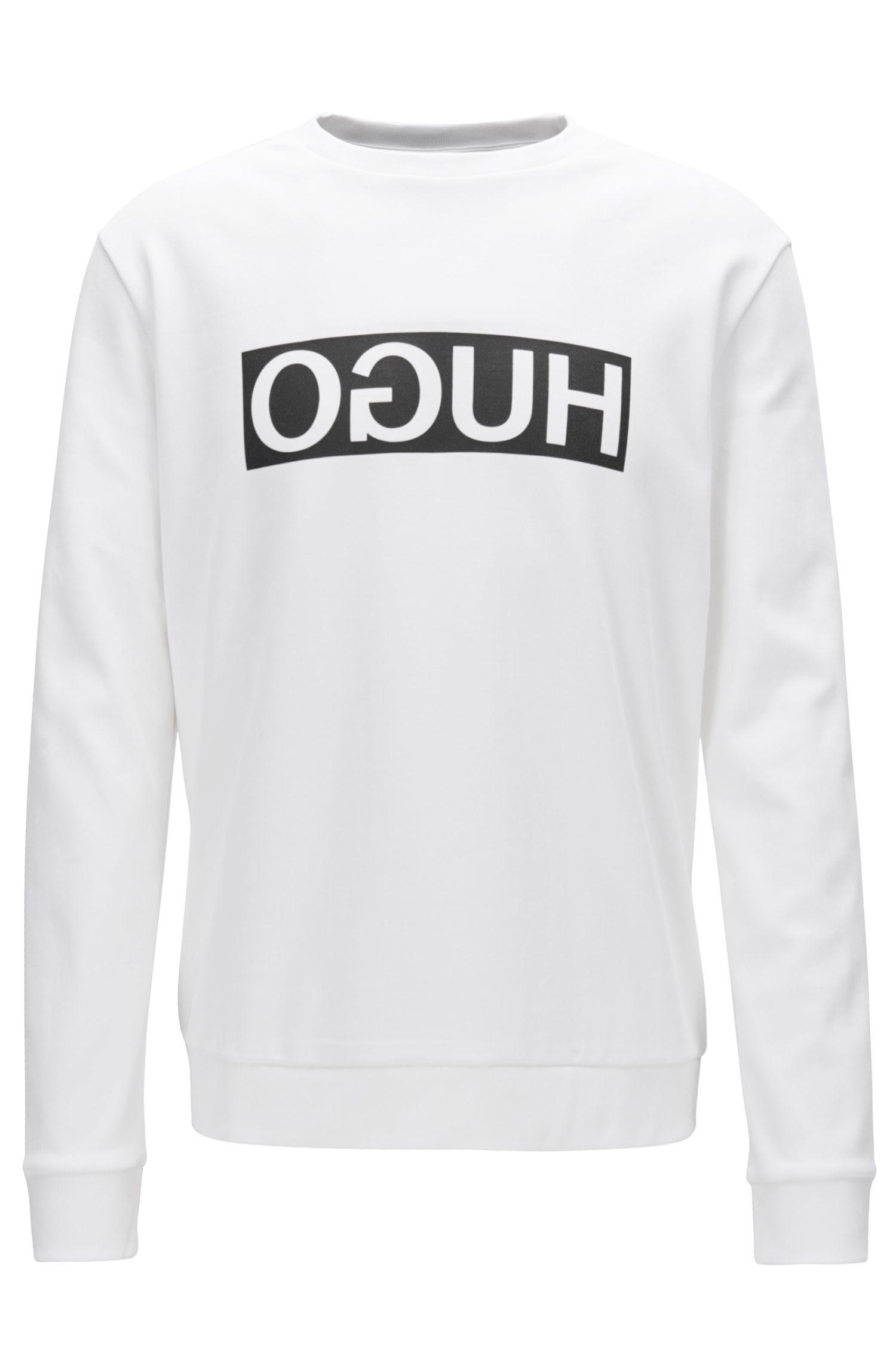 Sudadera regular fit en algodón interlock con logo invertido, Blanco
