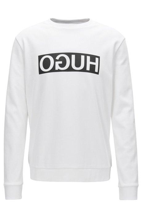 Regular-fit interlock cotton sweatshirt with reverse logo, White