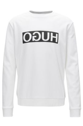 Sweat Regular Fit en coton interlock à logo inversé, Blanc