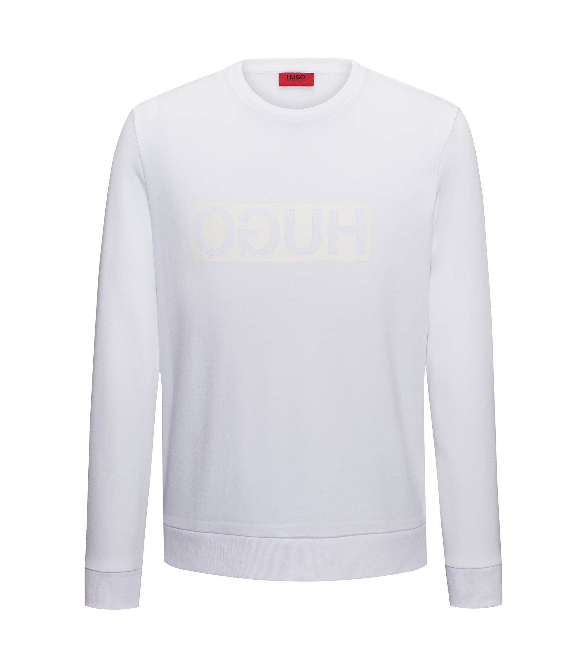 Regular-fit sweatshirt van interlock-katoen met gespiegeld logo, Naturel