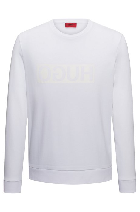 Regular-fit interlock cotton sweatshirt with reverse logo, Natural