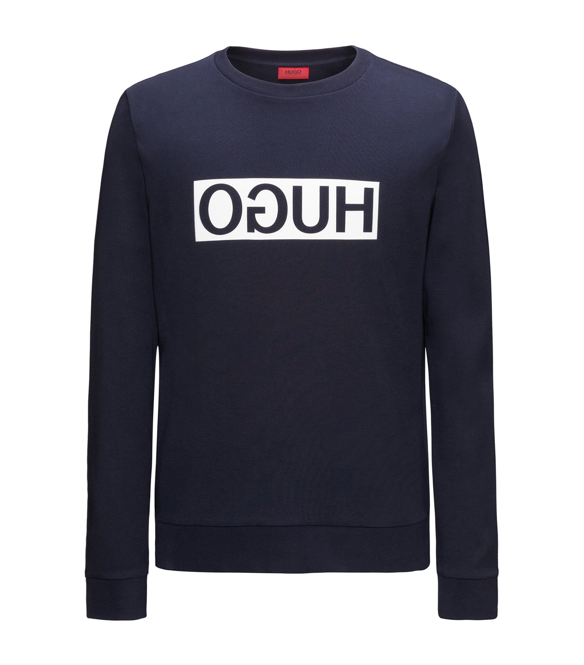 Regular-fit interlock cotton sweatshirt with reverse logo, Dark Blue