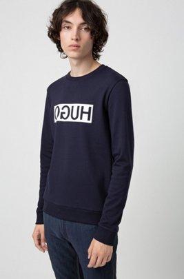 Reversed-logo sweatshirt in interlock cotton, Dark Blue