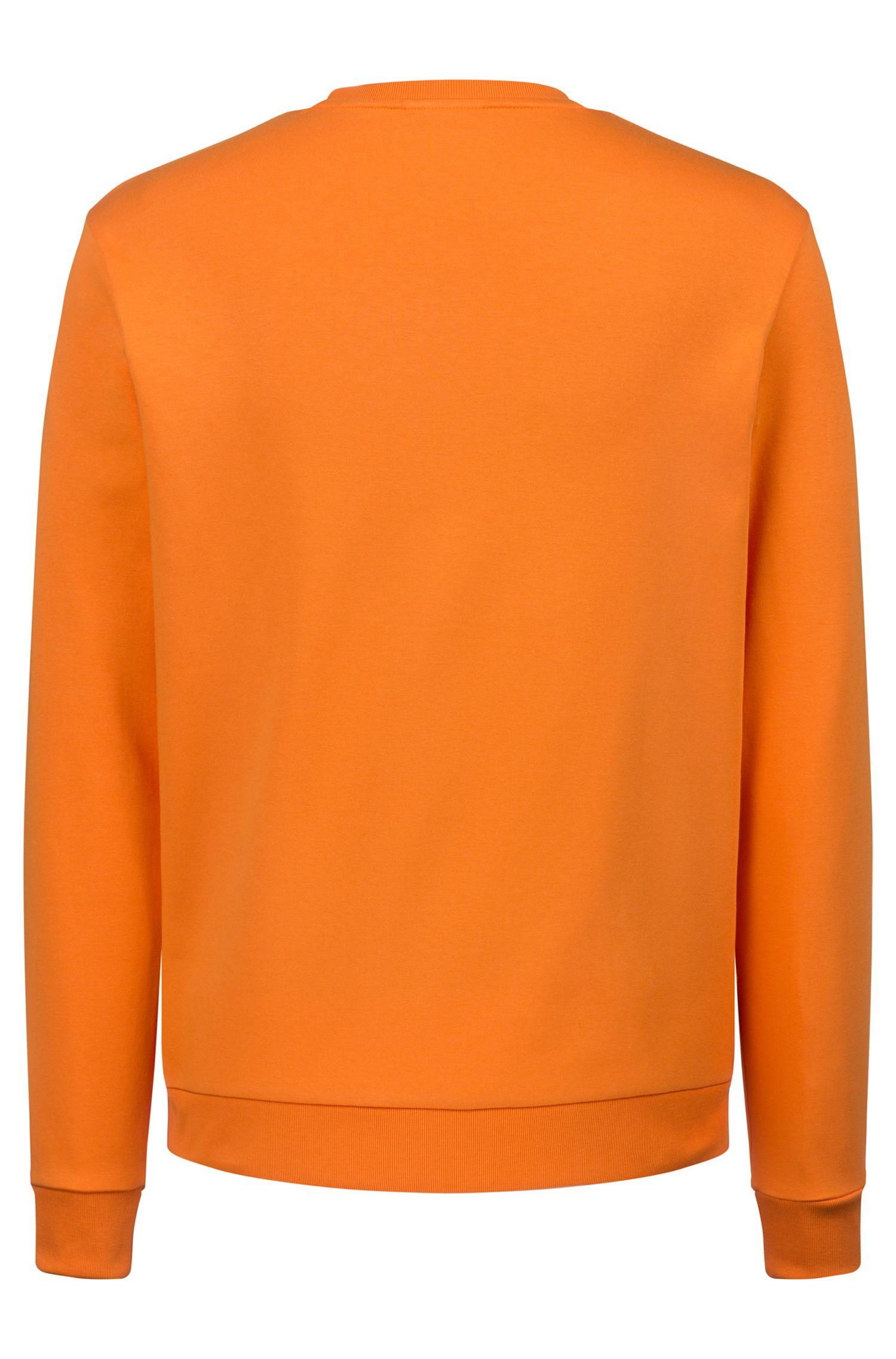 Felpa regular fit in cotone intrecciato con logo a rovescio stampato, Arancione