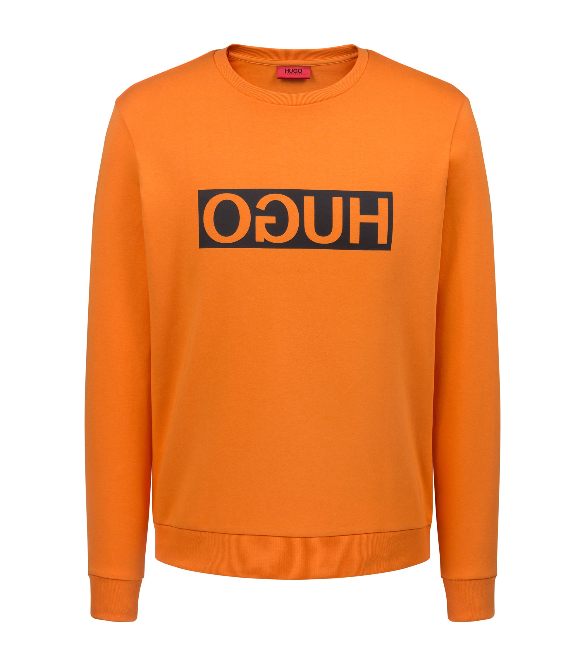Regular-fit interlock cotton sweatshirt with reverse logo, Orange