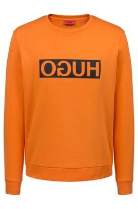 Regular-Fit Sweatshirt aus Baumwolle mit spiegelverkehrtem Logo-Print,  Orange 850427fa81