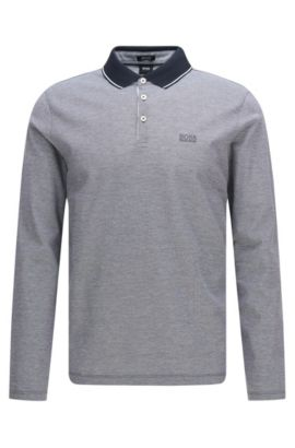 Regular-fit long-sleeved polo shirt in cotton: 'Pearl 03', Dark Blue