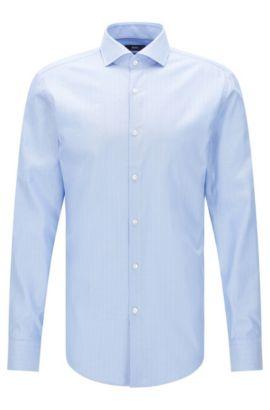 Chemise Slim Fit en coton, à motif à bâtons rompus: «Jason», Bleu vif
