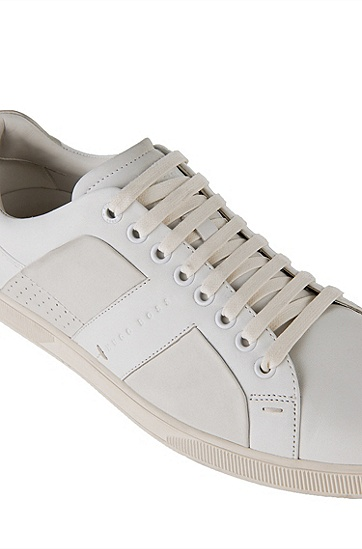 Leather sneakers with textile inserts: 'Acros', White