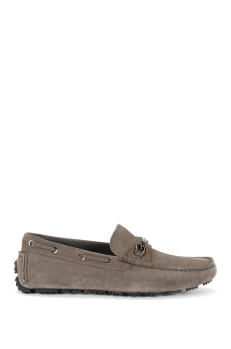 Leather moccasins with metal detailing: 'Driprin', Grey