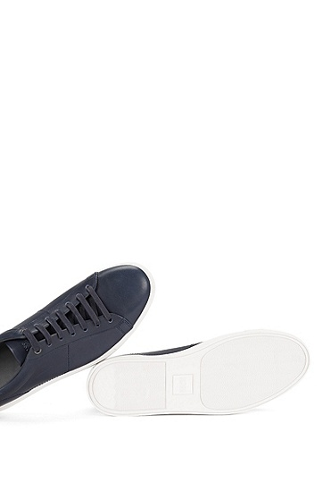 Plain-coloured leather trainers: 'Timaker', Dark Blue
